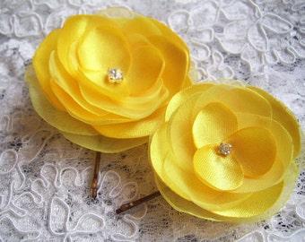 2 Yellow Hair Flowers Yellow Hair Clips Yellow Hair Slides Yellow Bridal Hair Clips Rhinestones Yellow Head Piece Yellow Bobby Pins