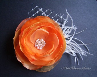 Orange Hair Clip Ivory Veil Feathers Pearls Gems Orange Headpiece Orange Wedding  Hair Flower Orange Bridal Clip Orange Bridal Accessories