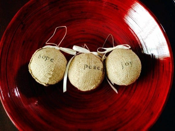 Items similar to stamped burlap christmas ornaments set