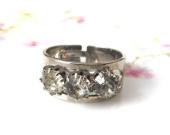 Vintage Silver Tone and Three Rhinestones Adjustable Ring