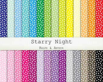 Starry Night - Star Digital Paper  - 28 Sheets - Digital Scrapbooking Paper - Commercial Use - Instant Download - Rainbow R273