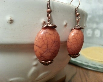 Earrings - Coral Resin Agate with Copper Bead Caps and French Hooks