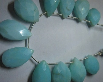 Opal Beads, Peruvian Opal Beads, Blue Opal Beads11 pcs. Natural Peruvian opal faceted almondeds 11x16mm to 13x22mm to 12x20mm