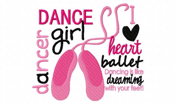 Dance Girl Ballet Applique Machine Embroidery Design 4x4 and 5x7