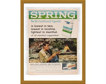 "1960 Spring Cigarette Color Print AD / The Air Conditioned Cigarrette / 9"" x 13"" / Original Advertisement / Buy 2 ads Get 1 FREE"