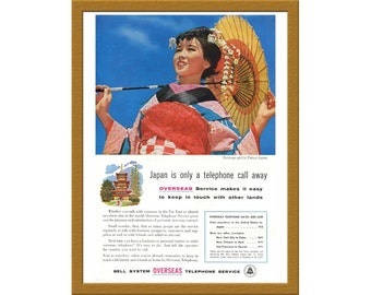 """1957 Bell System Company Color Print AD / Japan is only a telephone call away / 6"""" x 9"""" / Original Print Ad / Buy 2 ads Get 1 FREE"""