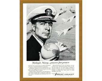 "1957 Chance Vought Aircraft B&W Print AD / Today's Navy power for peace / 6"" x 9"" / Original Print Ad / Buy 2 ads Get 1 FREE"