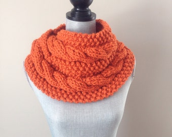 Chunky Knit, Infinity Scarf, Cable Knit In Pumpkin Orange