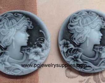 32mm round lady girl profile resin cameos grey 2 pieces lot l