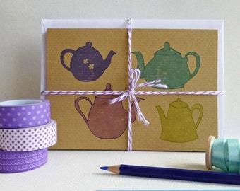 Teapot Note Cards | Hand drawn illustrations on kraft card | Set of 4 A6 cards with envelopes | Blank greetings card for your own message