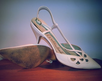 Size 6.5 vintage 1950s white calfskin stiletto slingback heels - Weltschuhe - Made in West Germany