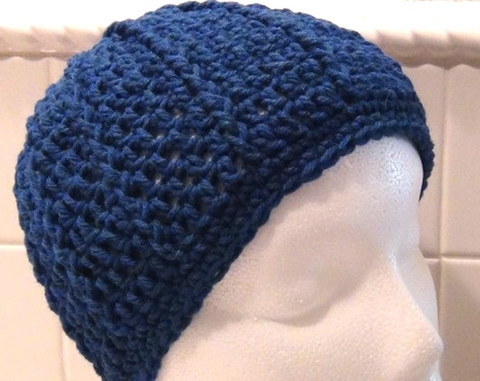 15 Off Coupon On Crocheted Skullcap Rich Blue Peacock Cap