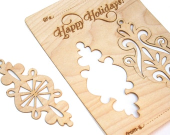 Wood Christmas Card with Ornaments, Laser Cut, Modern Design, Great Present