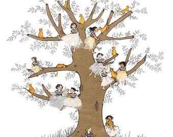 GINGER CATS and fairy girls perched in a tree.Lovely printed card with a golden magical feel.12 marmalade cats in a tree with 10 girls