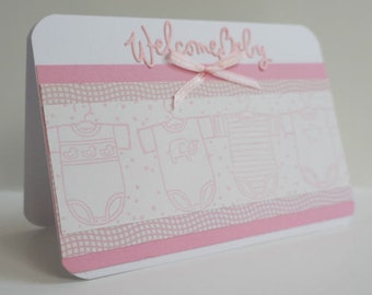 """Handmade Welcome Baby girl card """"welcome baby"""" congratulations card for birth new baby"""