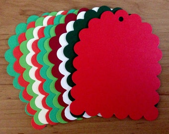 12 super Scallop jumbo Christmas colour Tags ready for decoration, cardmaking and designing your own gift tags