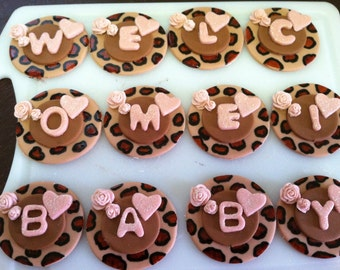 Baby shower fondant cupcake toppers ~ 1 dozen