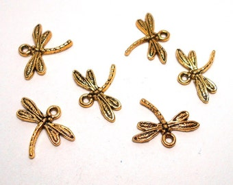 6 Gold Dragonfly Charms, Dragonfly Pendant, Bug Charms, Dragonflies, Dragonfly Charms, Dragonfly Charm, Nature Charms CC0012