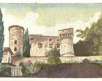 Meleto Castle, Gaiole in Chianti, watercolour