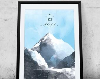K2, Printable Poster, Karakoram, mountain poster, wall decor, illustration