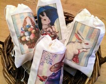 6 Easter Basket Gift Egg Hunt Bags. Set of 6 Victorian Vintage 4x6 Drawstring Party Favor Bags (Set 3)