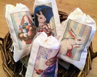 Easter bag etsy 6 easter basket gift egg hunt bags set of 6 victorian vintage 4x6 drawstring party negle Choice Image