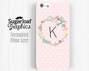 Personalized Initial iPhone Case Pink Polka Dot, Colorful Floral Wreath iPhone 7 6 Plus 5 5s 5c 4 4s Case, Samsung Galaxy S3 S4 Note 3 St66