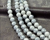 """SD15002 15.5"""" Full Strand White  Marble Effect Round Smooth Turquoise Howlite  Magnesite Beads for Jewelry Making Necklace Beads 10mm"""