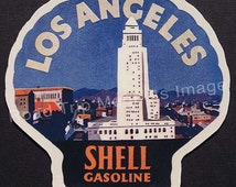Shell Gasoline 1920s Travel Decal Magnet for LOS ANGELES Ver 1. Accurate reproduction & hand cut in shape as designed. Nice Travel Decal Art