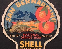 Shell Gasoline 1920s Travel Decal Magnet for SAN BERNADINO (CA) Accurately Reproduced & hand cut in shape as designed. Nice Travel Decal Art