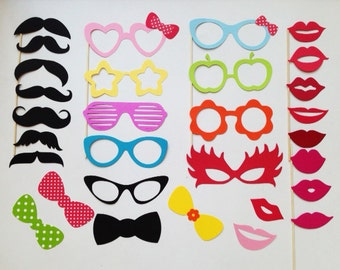 Party Photobooth Props Holiday Photo Booth Props Set of 30 Glasses, Lips and Mustaches