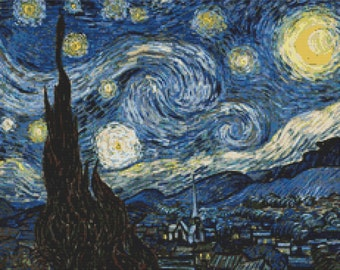 Instant PDF Download Cross Stitch Pattern Starry Night by Vincent Van Gogh