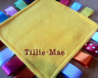 Personalised or blank Taggy Blanket/Comforter/Gift in Yellow