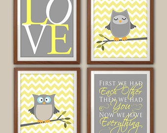 Nursery Art Print -  Owl Nursery - Nursery Quote - Owl Nursery Decor - Owl Nursery Art - Custom Colors - Set Of Four Prints