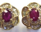 "Vintage Ruby and Diamond Baguette Pave ""Flower"" 14k Gold Earrings, 1960's 0r 70's"