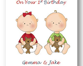 twins birthday card  etsy, Birthday card