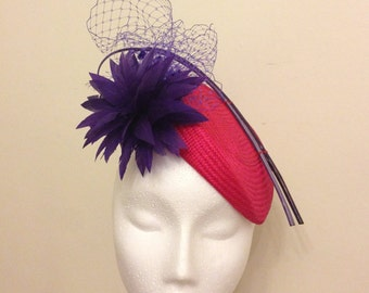 Couture Hat in Peony Pink and Purple. Different base colours availanle to order in mix n match trims.