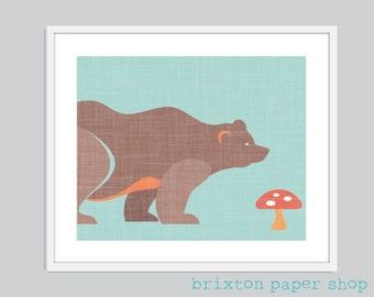 A Hungry Bear Nursery Digital Art Print - Various Sizes - 5x7, 8x10, 11x14