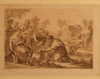 Bartolozzi antique engraving  1765 print sepia after Pietro da Cortona Jacob Rachel and Laban Freight extra cost picture Holiday Gift