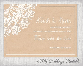 Save the date template Turquoise Blue Lace Doily