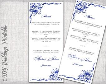 Navy Wedding Menu Template Navy Blue Scroll Menu Templates DIY Menu Elegant Corner Scroll
