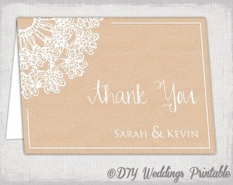"Thank you card template Rustic wedding template ""Lace Doily kraft"" wedding thank you cards DIY wedding printable-YOU EDIT instant download"