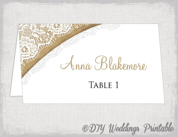 rustic place cards template burlap lace diy