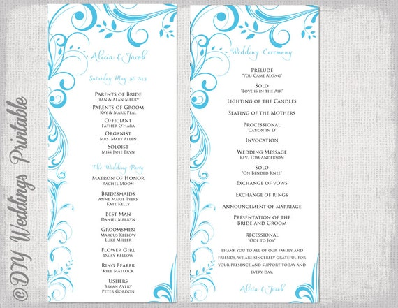 Wedding Program Template Malibu Blue Instant Download
