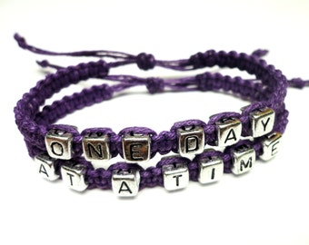 One Day At A Time Bracelet Set, Dark Purple Hemp Jewelry, Recovery Bracelets