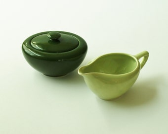 Mid-century Knowles China cream and sugar set, chartreuse and forest green