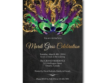Mardi Gras invitation. Mask chalkboard. Mardi Gras Party invites. Green, Purple and Gold. Made to order. Any custom color. DIY