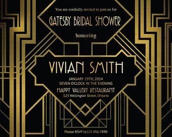 Great Gatsby Bridal Shower Invitation. Art Deco. Customized party invites. Printable Digital DIY.