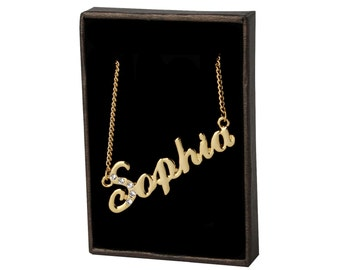 Name Necklace Sophia - Gold Plated 18ct Personalised Necklace with Swarovski Elements