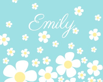 Personalised daisy wall art print